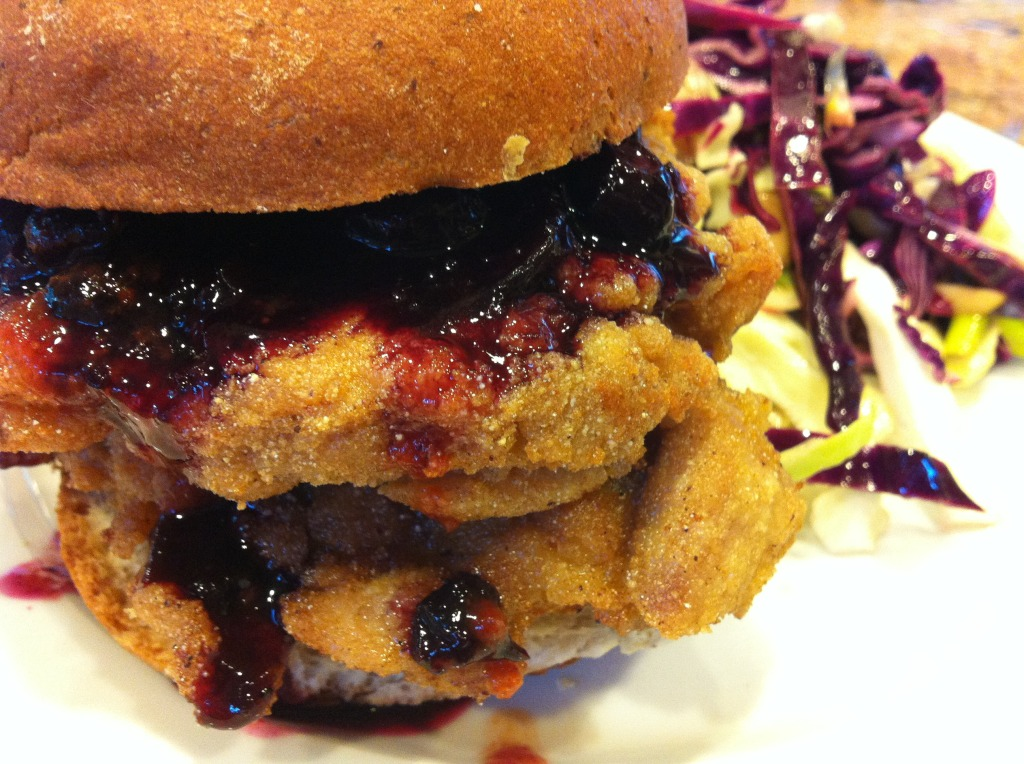 Fried Chicken Sandwich with Spicy Blueberry Sauce
