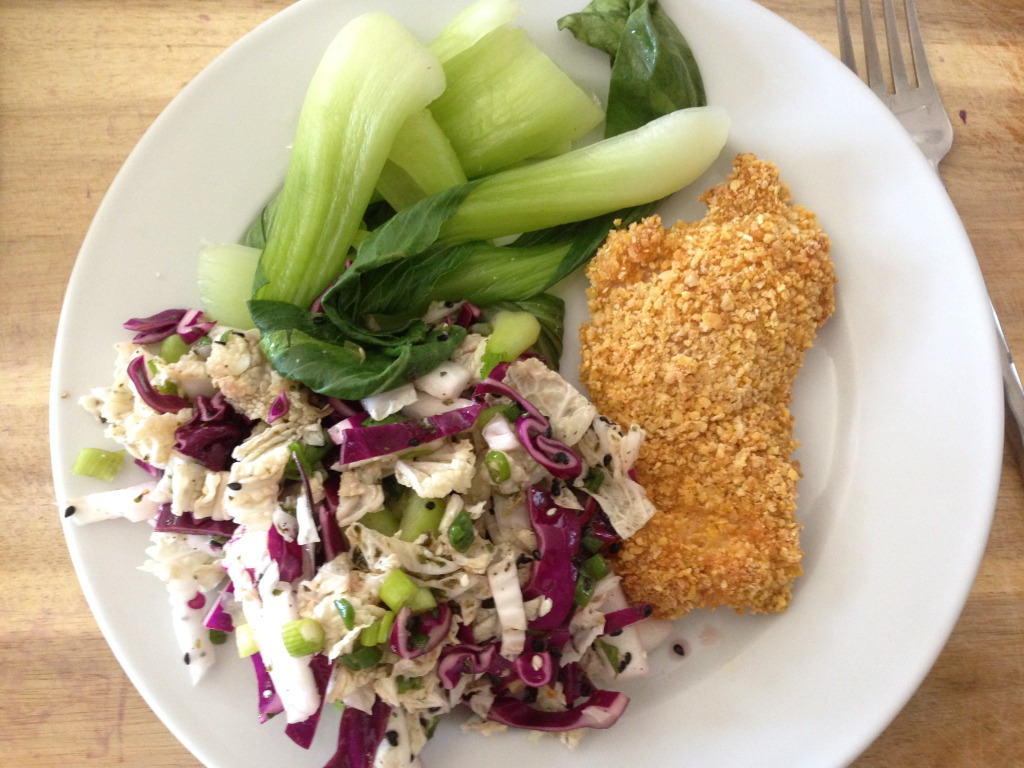 Baked Cornflake Chicken with a side of Cabbage Slaw and Baby Bok Choy