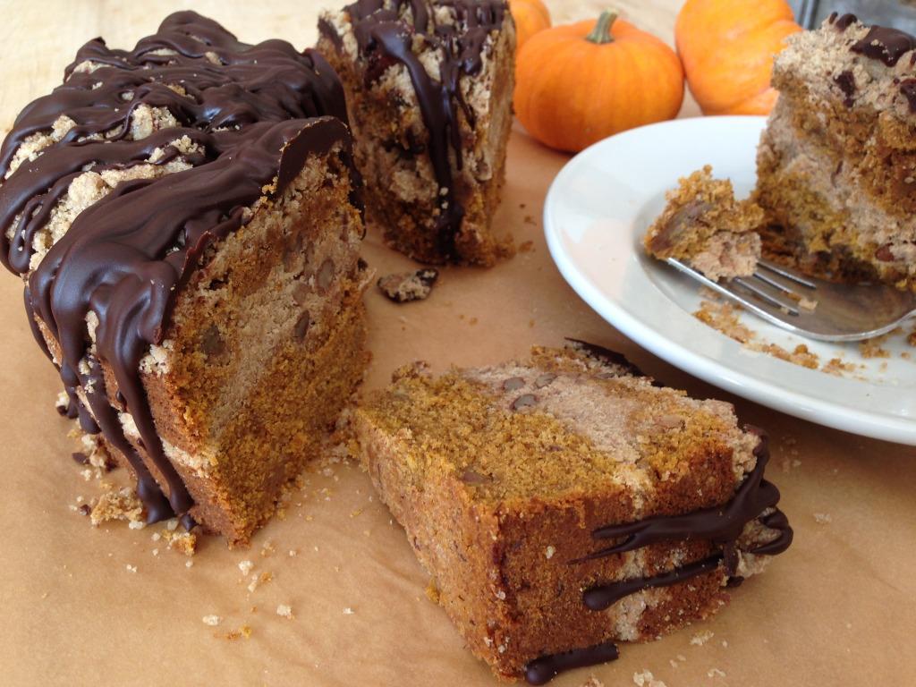 Pumpkin Pecan Streusel Cake
