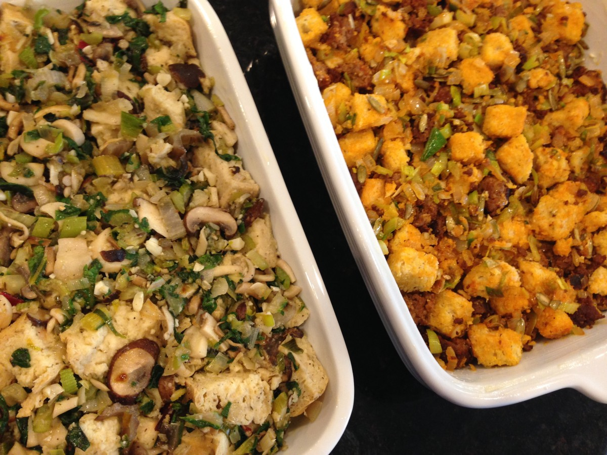 chorizo cornbread stuffing gluten free soy free thanksgiving stuffing