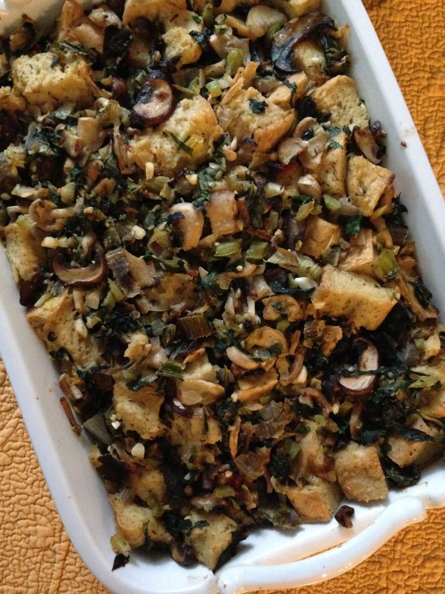 focaccia mushroom leek stuffing vegetarian gluten free soy free thanksgiving stuffing