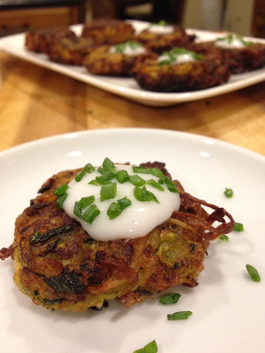 zucchini parsnip latkes gluten free dairy free egg free vegan From Jessica's Kitchen