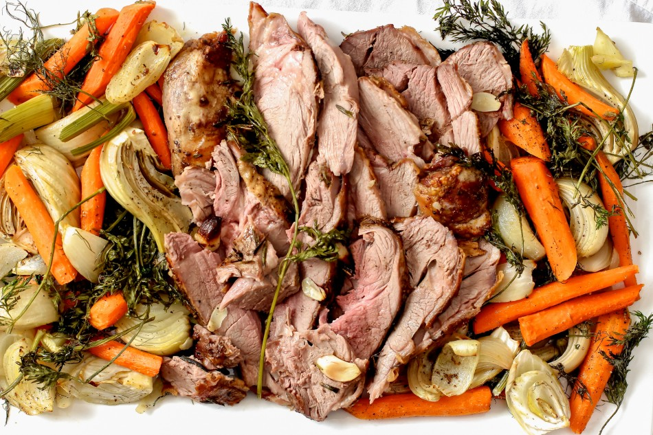 Leg of Lamb with roasted fennel, onions, and carrots {gluten free, dairy free, soy free}