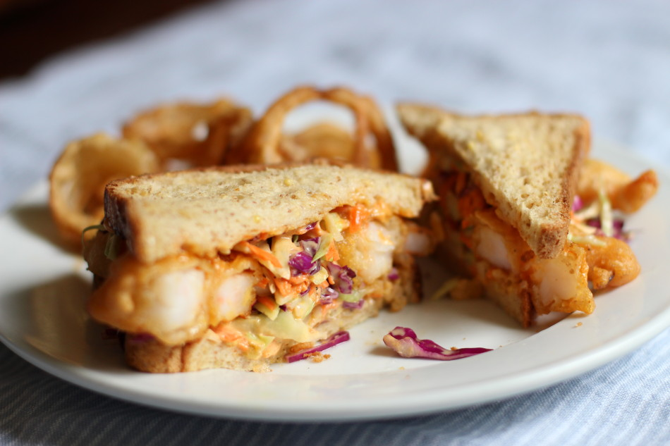 Shrimp 'n Slaw Sandwich + Onion Rings