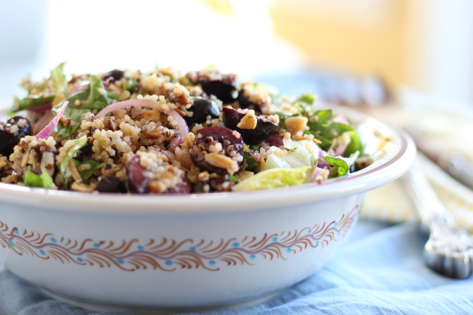 Gluten-free-dairy-free-vegan-Quinoa-Salad-with-Cherries-and-Almonds-in-a-honey-ginger-dressing-From Jessica's Kitchen