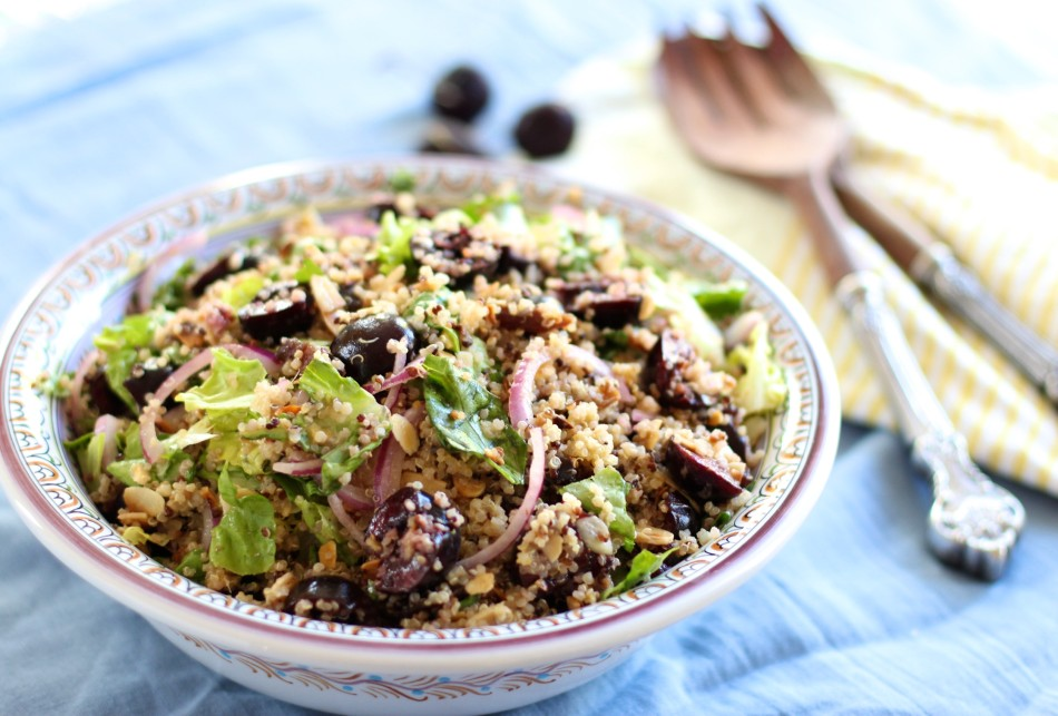 Easy Cherry Quinoa Salad + Honey Ginger Dressing