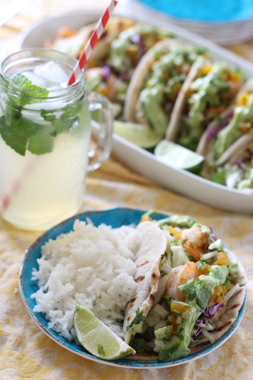Shrimp-Tacos-with-apricot-salsa-fresca-and-avocado-crema-gluten-free-dairy-free-soy-free