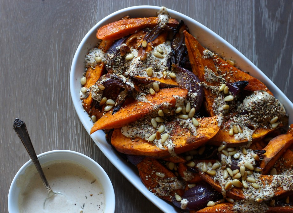 Sweet Potato and Red Onion with tahini and za' atar