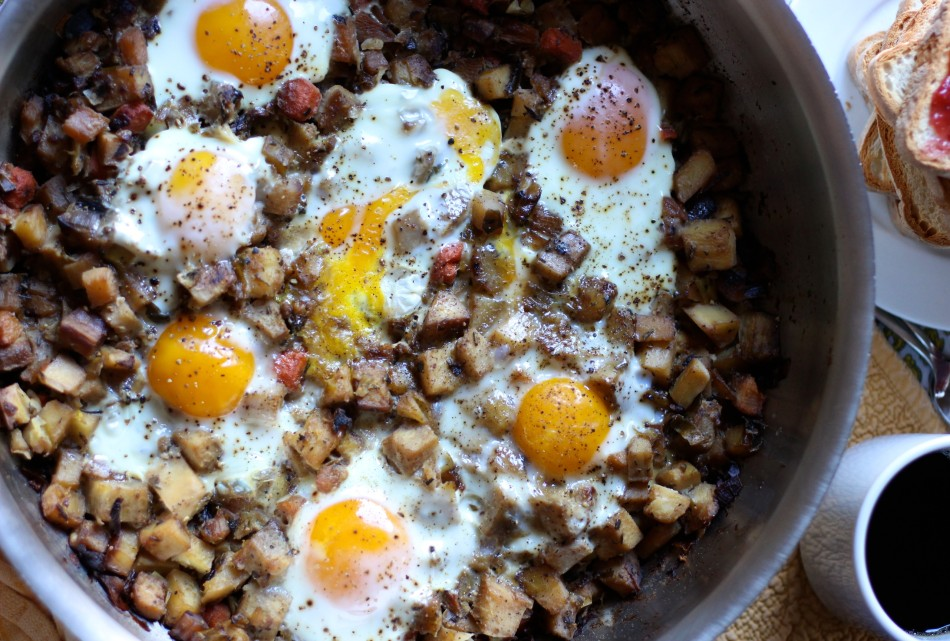 Simple Root Vegetable Hash with Eggs