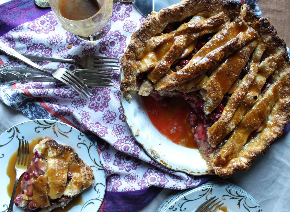 Cranberry Pear Pie with caramel