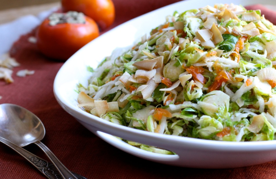 Shredded Brussels Sprouts Salad with Persimmon, Jicama, and Coconut Chips