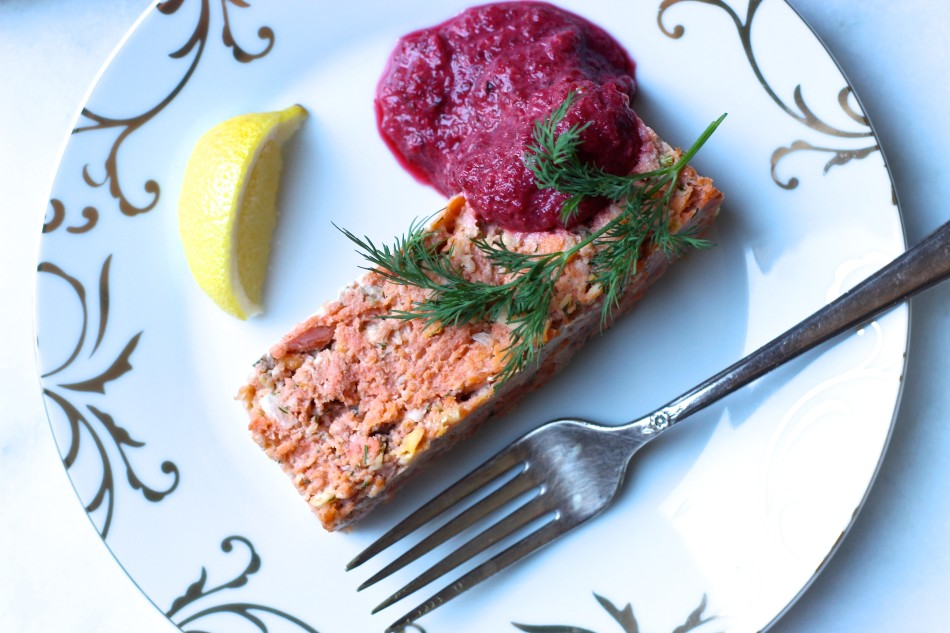 Salmon Terrine with Beet Horseradish aka my take on gefilte fish {gluten free, dairy free, soy free}