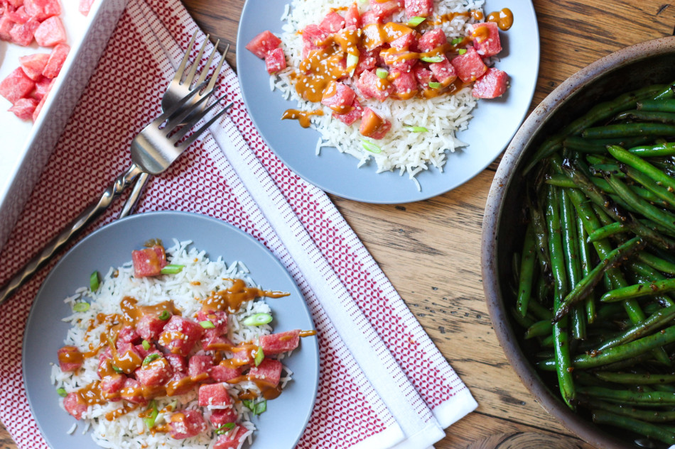 Watermelon Poke + Blistered Green Beans with Teriyaki Sesame Glaze (gluten free, nut free, soy free, vegan)