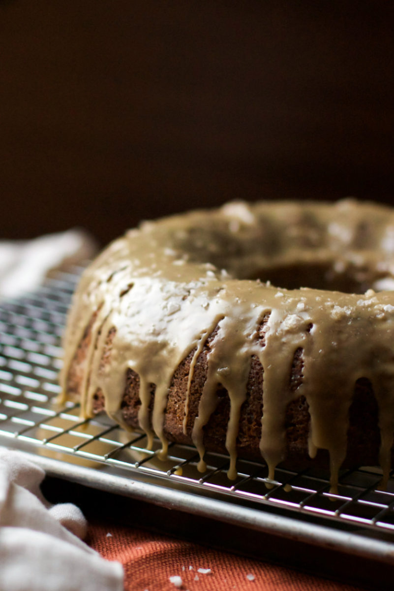 Spiced Applesauce Bundt Cake with Salted Caramel Glaze + Homemade Applesauce Recipe (gluten free, grain free, soy free, vegan)