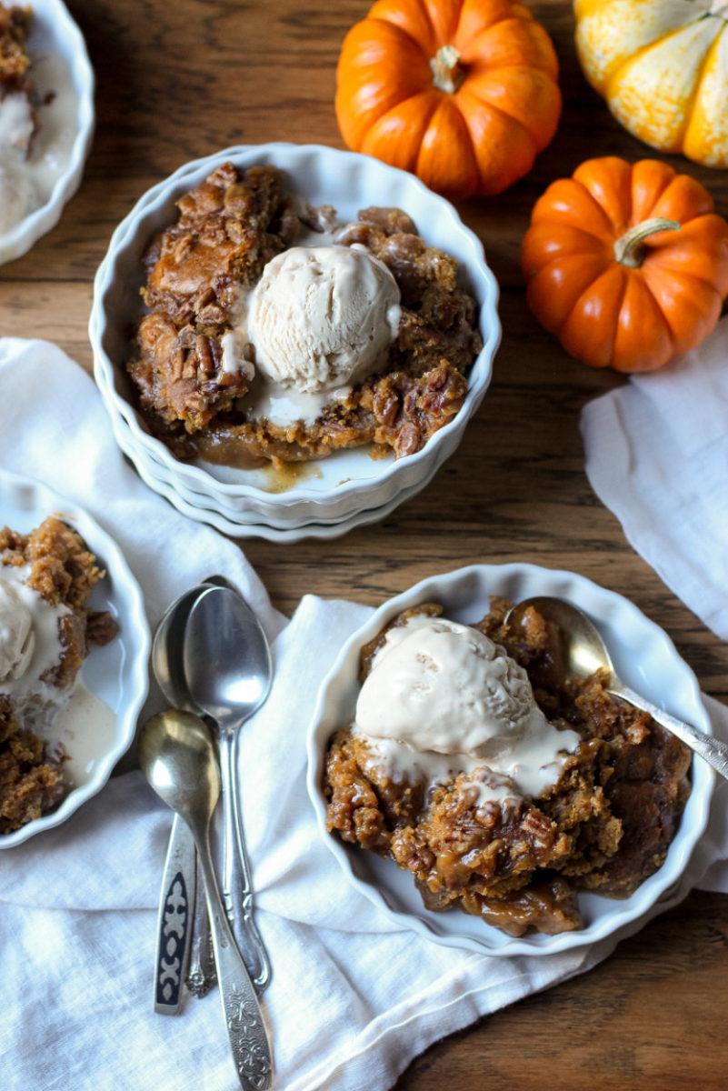 Pumpkin Pecan Cobbler Cake (gluten free, grain free, dairy free, soy free, vegan)