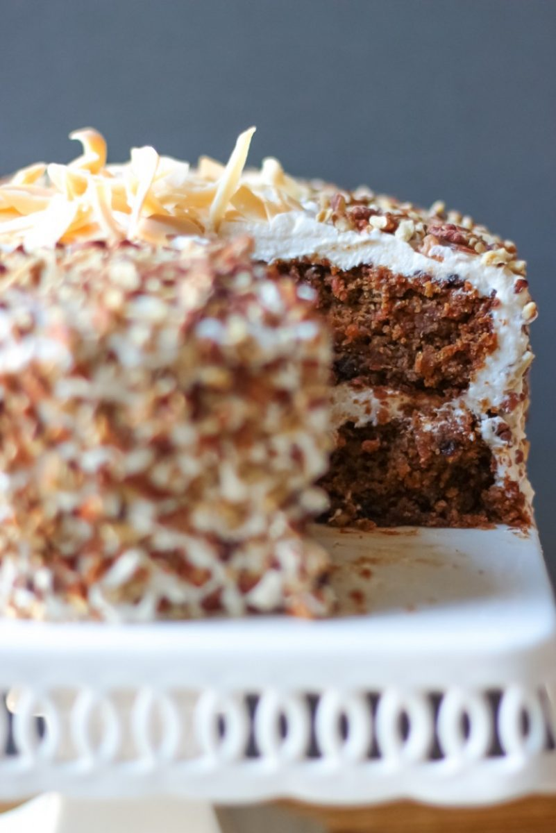 Carrot Cake with Cream Cheese Frosting (gluten free, grain free, egg free, soy free, vegan)